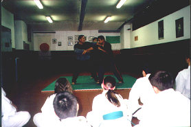 Grandmaster Alberto D. Dacayana SR demonstrating for students in Rome, Italy.