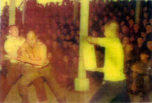 Grandmaster Dacayana elbow breaking technique demonstation in the earely 70's in front of approx. 5000 of his military students at camp Lapu Lapu, Lahug, Cebu City.
